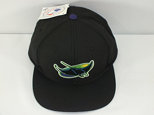 7ba3a29f084 TAMPA BAY DEVIL RAYS MLB FLAT BRIM VINTAGE SNAPBACK BLACK A8. by logo  athletic