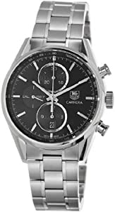 Men's Stainless Steel Case and Bracelet Carrera Automatic Chronograph Black Tone Dial