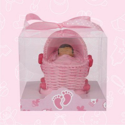 48 Ethnic African American Pink Baby Shower Pink Girl Carriage Favors In Box Gift Keepsake Favor front-1022511