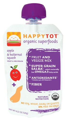 Happy Tot Organic Baby Food Butternut Squash and Apple 4 22 Ounce Pouches Pack of 16