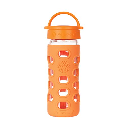 Lifefactory 12-Ounce Glass Bottle With Classic Cap And Silicone Sleeve, Orange