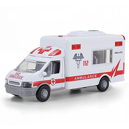 Diecast Ambulance Pullback Friction Toy Emergency Vehicle w/ Lights and Sounds