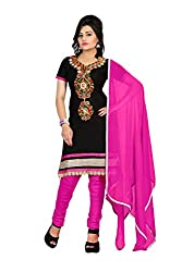 Rk The Fashion Women's Cotton Unstitched Dress Material (RK-FS-403_Black & Pink_Free Size)