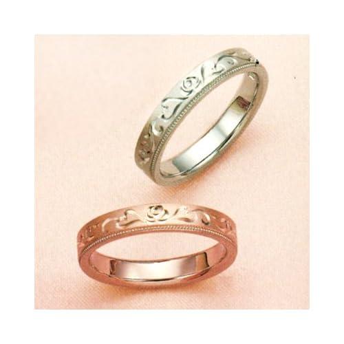 結婚指輪 マリッジリング 2本セット ペアリング カップル ダイヤモンド リング 指輪 地金リング アンティーク 唐草 リング K18 18金 18K ピンクゴールド PG ホワイトゴールド WG