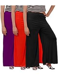 Carrol Women's Plazo Combo Of 3 (Purple,Black & Red )