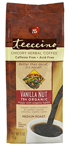 Teeccino Vanilla Nut Chicory Herbal Coffee Alternative, Acid Free, Caffeine Free,  11oz (Pack of 3) (Alternative Coffee compare prices)