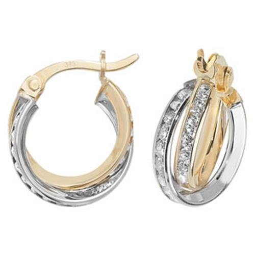 9ct Gold Hoop Earrings Cubic Zirconia