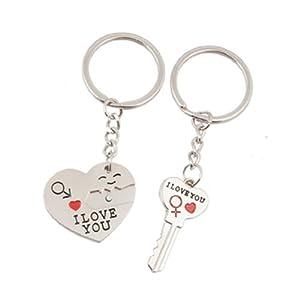 Como I LOVE YOU Herz Key Lock-w-Anhänger Schlüsselanhänger für Verliebte