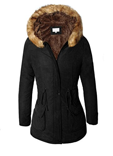 4How Women's Fashion Hooded Quilted Winter Jacket Coat Sale Faux Fur Zipper Parkka Black UK Size 18 (Black) (US 14 = UK 18, show UK size)