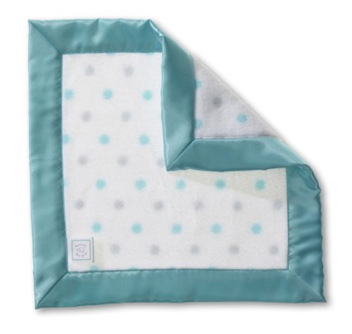 SwaddleDesigns Baby Lovie, Security Blankie in Sterling Dots, SeaCrystal