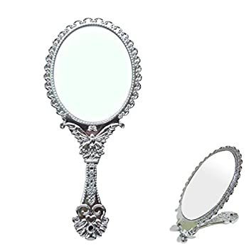Sevenstars Decorative Vintage Style Silver Tarnish Free Hand Held Folding Mirror