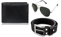 Rico Sordi leather wallet with sunglass & Belt(design-2) (Black) - RSM_34_36_WSGB