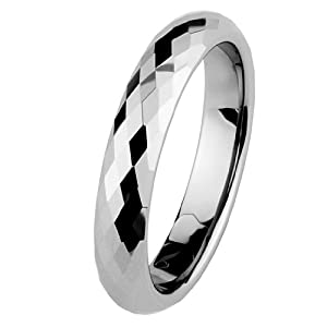 4mm Faceted Cobalt Free Tungsten Carbide COMFORT-FIT Wedding Band Ring for Men and Women (Size 5 to 15) - Size 8.5