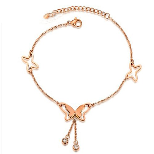 PlusMinus Women's 316L Stainless Steel Hollow Butterfly Tassel Crystal Gift Anklets Rose Gold