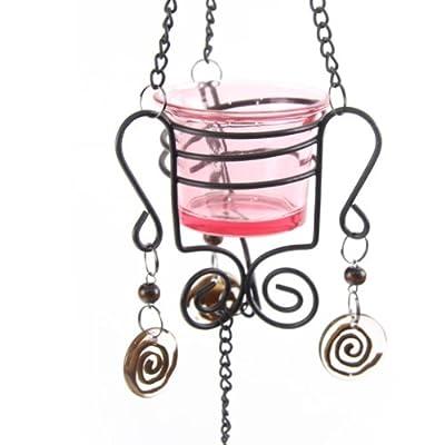 Hanging Glass Votive Candle Holder Pink