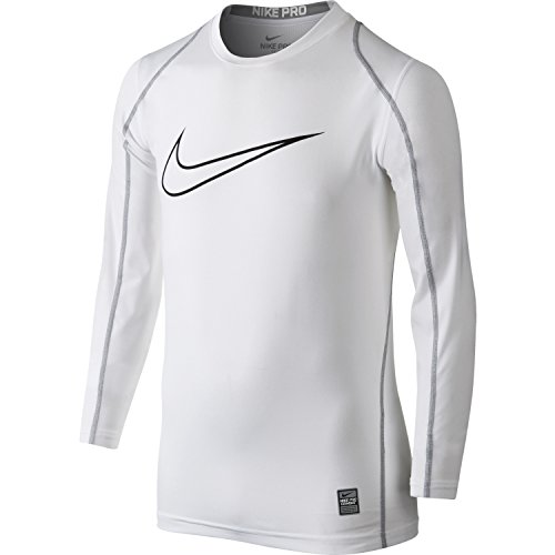 Boy's Nike Pro Cool Compression Top (White/Black,X-Small)