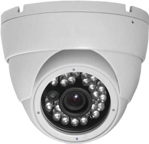 I-Secu All Metal 700 Tvl (Tv Line) Day & Night Vision Ir Dome Outdoor Ccd Cctv Security Camera Vandal-Proof 3.6Mm Wide View Angle Lens (White)