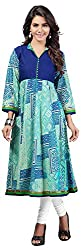 INDIAN FASHION LADY Women's Cotton Kurtas (Ifl-94 , Blue )