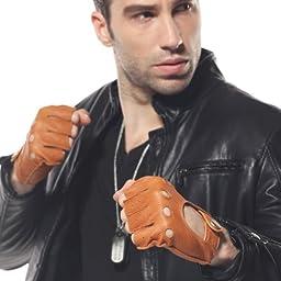 ELMA Men\'s Deerskin Leather Fingerless Half Finger Driving Unlined Gloves (L, Sand Yellow)