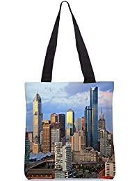 Snoogg Buildings Top Digitally Printed Utility Tote Bag Handbag Made Of Poly Canvas