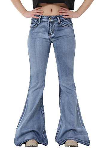 Glamour Outfitters 60s 70s Light Wash Flares Faded Bell-Bottom Flared Jeans - Blue (US16 / UK18)