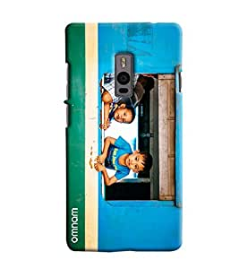 Omnam Small Kids Watching Outside From Balcony Printed Designer Back Case For OnePlus Two