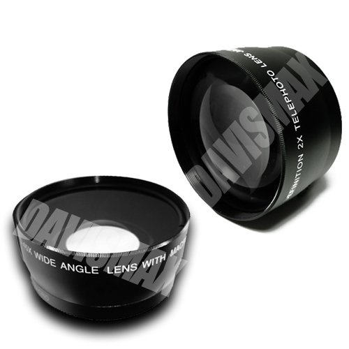 52Mm 0.45X Wide Angle Lens + Macro & 2X Telephoto Lens Includes Lifetime Warranty, Lens Caps, Lens Bag And Davismax Fibercloth For Nikon D5000 D5100 D90 D3100 D300 D300S D200 D60 & More!