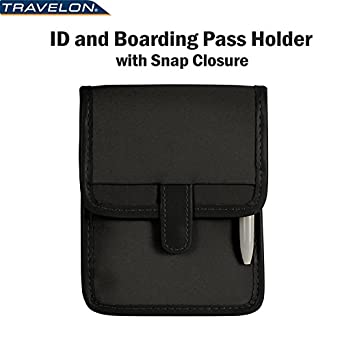 Travelon ID Boarding Pass Holder Snap Closure Secure Passport Travel Wallet Neck 6250