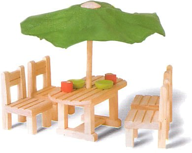 Plan Toys 7337: Outdoor Furniture (Wooden Dollhouse Furniture)