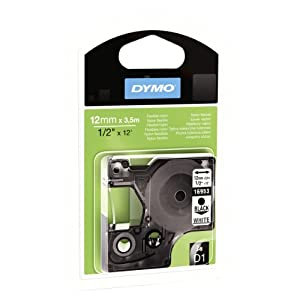 Dymo D1 Flexible Nylon High Performance Labelling Tape 12mm x 3,5m - Black on White