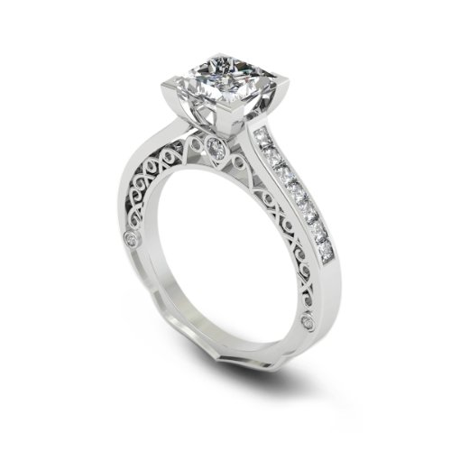 Where Can I Buy 1.69 ct Princess Cut Diamond Engagement Ring SI1 / D 14k White Gold