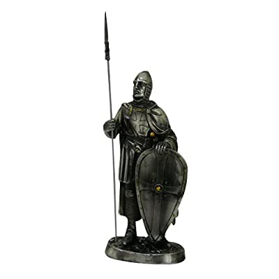 7 Inch Armored Crusader Knight with Shield and Spear Statue Figurine