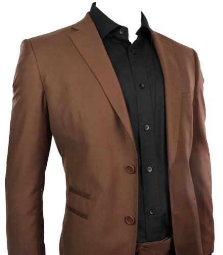 Mens Slim Fit Suit Tan Brown 2 Button Office Party or Wedding Suit Stitch Trim