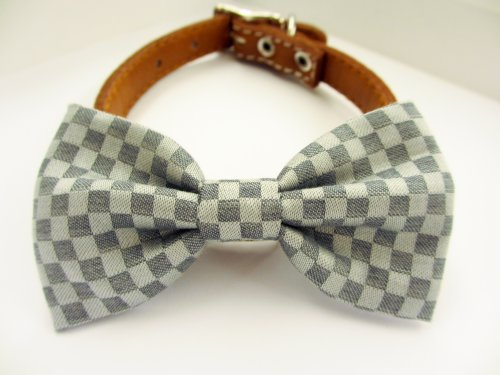 Dog or Cat Slide on Handcrafted Bow Tie Collar Accessory - Grey Check Fine Cotton Gentleman Collection