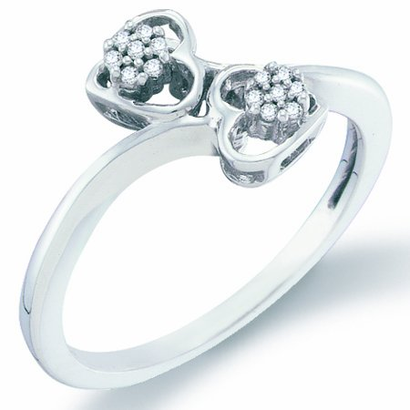 Diamond Two Hearts Ring Cluster Promise Band 10k White Gold (0.05ct), size 8.5