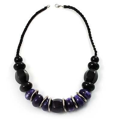 Stylish Chunky Polished Wood Bead Cotton Cord Necklace (Black & Purple)