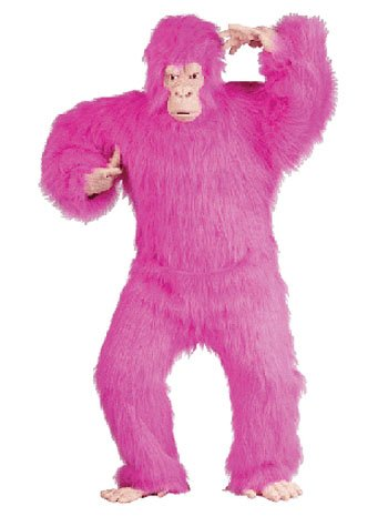 Adult Neon Pink Furry Gorilla Costume - ONE SIZE
