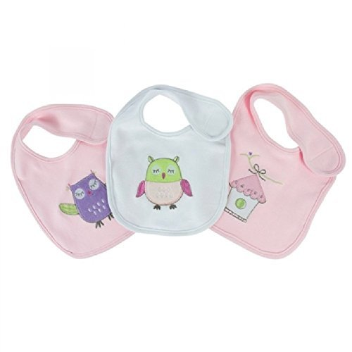 Bubba Blue Baby Girl's Owl Bibs - 3 Pack Gift