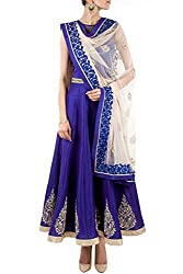 SK Clothing Blue Color Gerogette & Net Embroidered Semi_Stiched Dress For Women