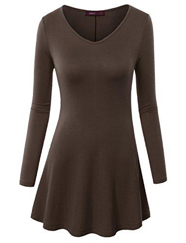 Doublju Women Stretchy Colorful 3/4 Sleeve Tunic Top MOCHA,XS