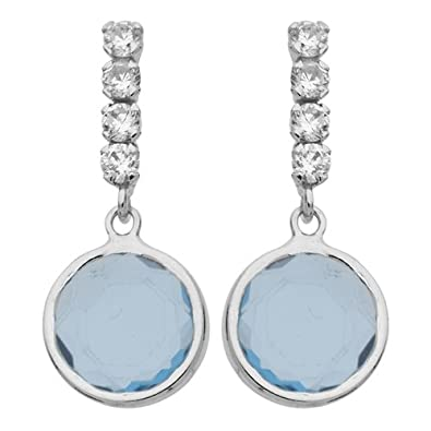 So Chic Jewels - 9k White Gold - Round Topaz and Cubic Zirconia Dangle Earrings