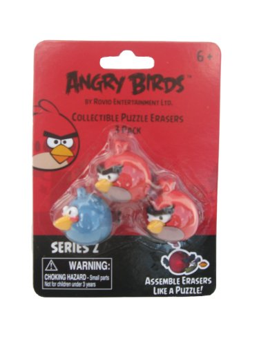 Angry Birds Collectible Puzzle Erasers 3 Pack, 2 Red 1 Blue - 1