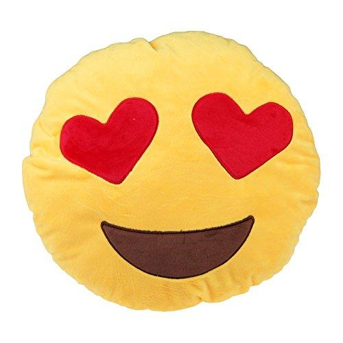 Mukka Süß Smileys Kissen Rund Sofa-Kissen Plüsch Spielzeug Puppe mit Mukka Geschenkkreuz (Herz Augen)
