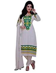 Aksana Collections White Faux Georgette Embroidered Suit