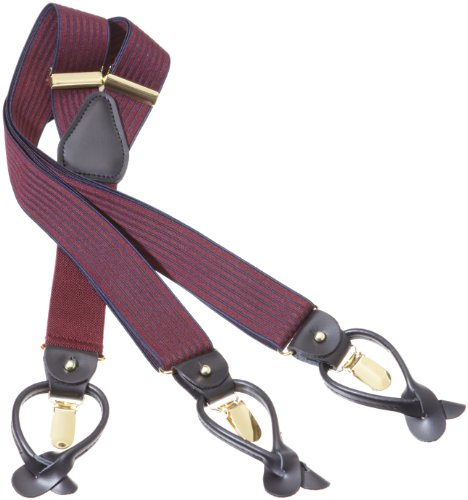 Airport Friendly Plastic Clip Solid Suspender for Men Made in USA X-Back Genuine Leather Trimmed clip end suspenders