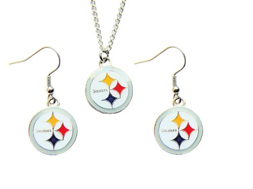 Pittsburgh Steelers Necklace and Dangle Earring Charm Set NFL from SteelerMania