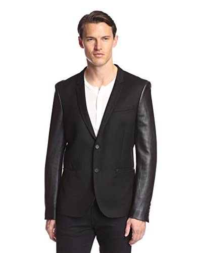 The Kooples Men's Flannel Jacket with Leather Sleeves