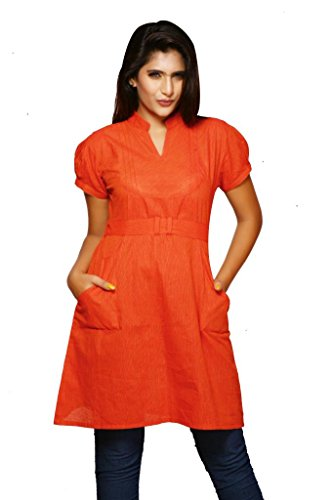 Weaves Suvasthra Weaves Women's Kurti (Orange)