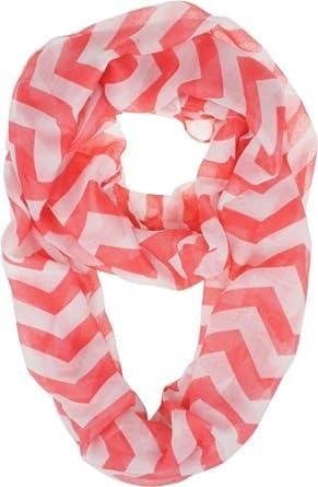 Vivian & Vincent Soft Light Weight Zig Zag Chevron Sheer Infinity Scarf (Big Chevron Red/White)
