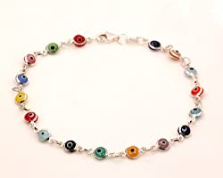 Evil Eye Murano Glass Bead Designer Sterling Silver Bracelet SD13, 5mm 7in